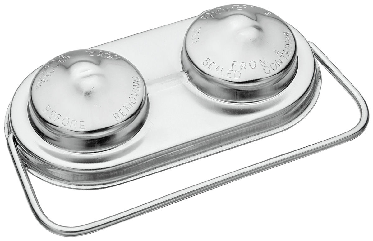 "Photo of Master Cylinder Lid, Chrome Single Bale 2-3/8"" x 5"""