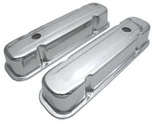 1959-77 Grand Prix Valve Covers, Reproduction Chrome Baffled