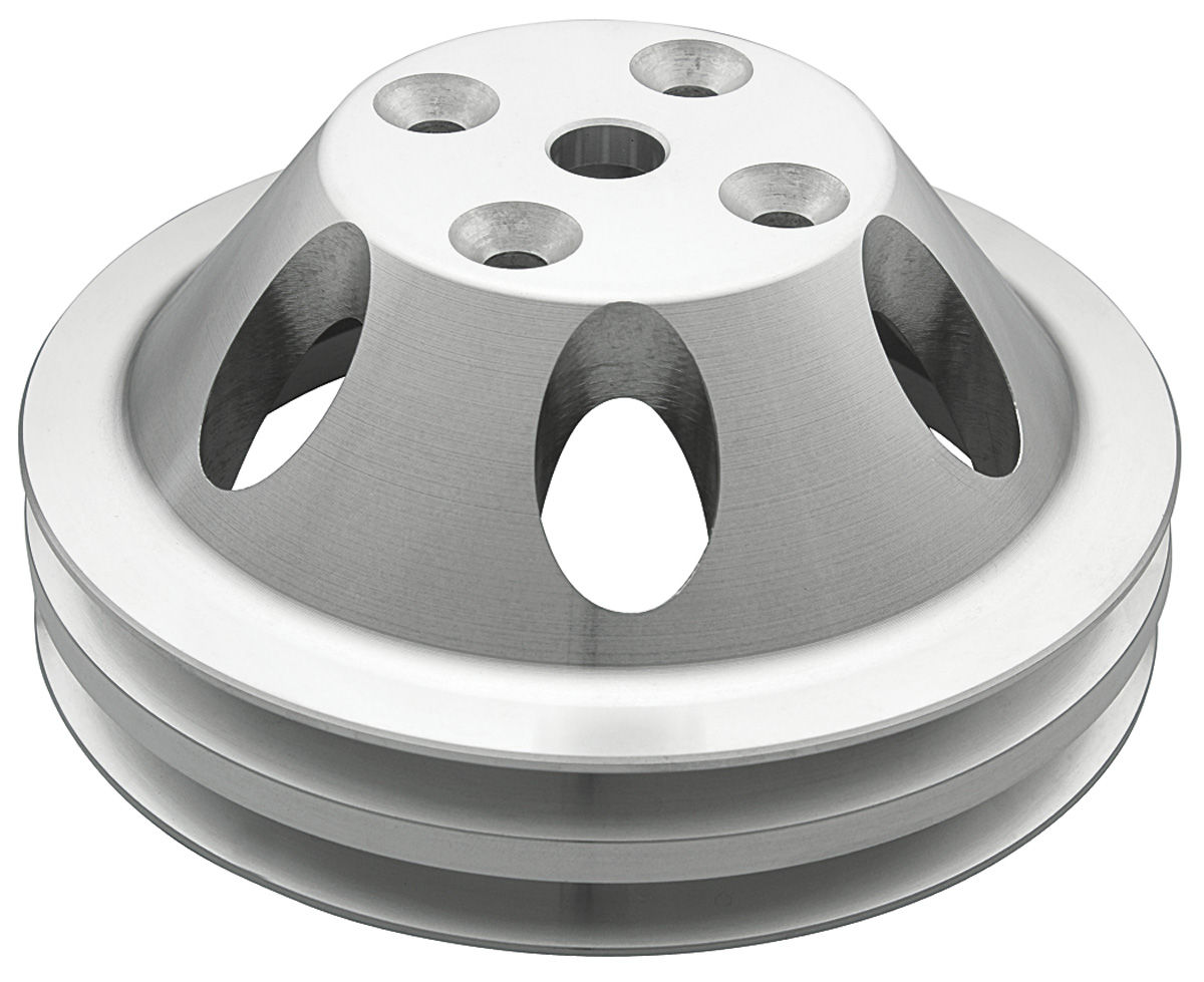 """Photo of Pulley, Small-Block V-Belt (Aluminum) Water Pump double, 6.25"""" dia"""