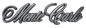 """Trunk Panel Emblem, 1970-71 """"Monte Carlo"""" (with OEM Studs), by TRIM PARTS"""