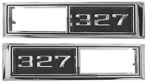 """1968-1968 Chevelle Fender Emblem, 1968 Marker Lamp Bezel """"327"""", by TRIM PARTS"""