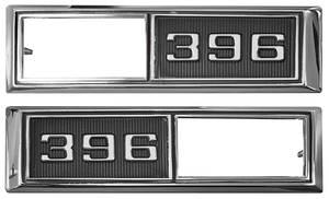 """1968-1968 Chevelle Fender Emblem, 1968 Marker Lamp Bezel """"396"""", by TRIM PARTS"""