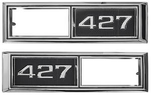 """Chevelle Fender Emblem, 1968 Marker Lamp Bezel """"427"""", by TRIM PARTS"""