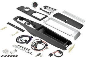 Chevelle Console Kits, Center (1966-67 Automatic) w/Wiring & Clock w/Clock, by RESTOPARTS