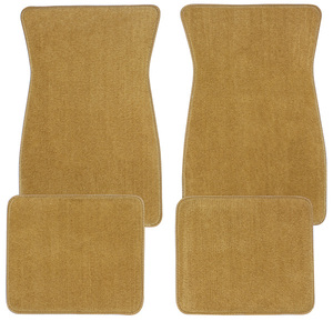1974-77 Chevelle Floor Mats, Carpet Matched Oem Style - Front and Rear Plain (Cut Pile)