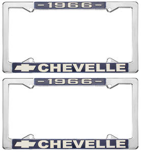 1966 License Plate Frames, Chevelle Custom, by RESTOPARTS