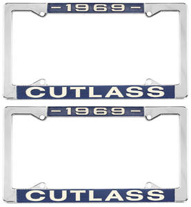 1969 License Plate Frames, Cutlass Custom, by RESTOPARTS