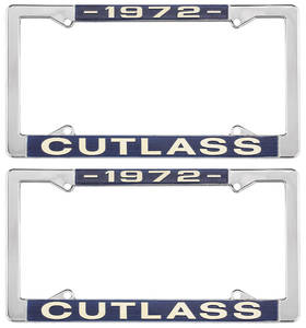 1972-1972 Cutlass License Plate Frames, Cutlass Custom, by RESTOPARTS