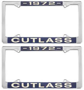 1972 License Plate Frames, Cutlass Custom, by RESTOPARTS