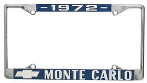 "1972-1972 Monte Carlo License Plate Frame, Custom ""Monte Carlo"", by RESTOPARTS"