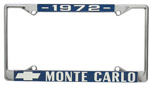 "1972 License Plate Frame, Custom ""Monte Carlo"""