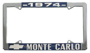 "1974-1974 Monte Carlo License Plate Frame, Custom ""Monte Carlo"", by RESTOPARTS"