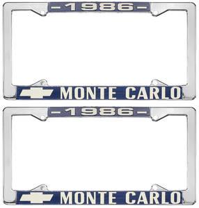 "1986 License Plate Frame, ""Monte Carlo"""