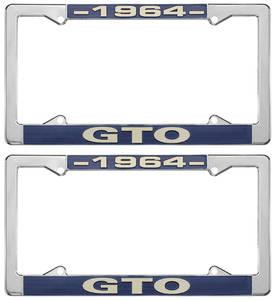 "1964 License Plate Frames, ""GTO"" Custom, by RESTOPARTS"
