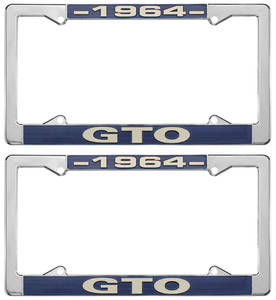 "1964 License Plate Frames, ""GTO"" Custom, by RESTOPARTS"