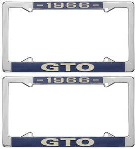 """1966-1966 GTO License Plate Frames, """"GTO"""" Custom, by RESTOPARTS"""