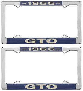 "1966 License Plate Frames, ""GTO"" Custom, by RESTOPARTS"