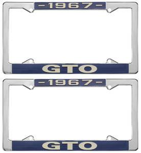 """1967-1967 GTO License Plate Frames, """"GTO"""" Custom, by RESTOPARTS"""