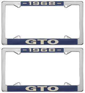 """1968-1968 GTO License Plate Frames, """"GTO"""" Custom, by RESTOPARTS"""