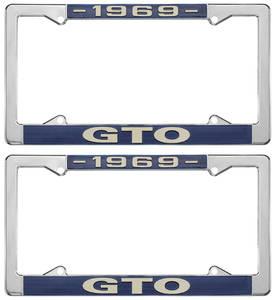 """1969-1969 GTO License Plate Frames, """"GTO"""" Custom, by RESTOPARTS"""
