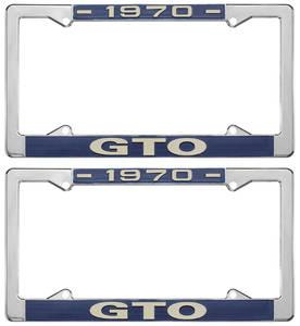 """1970-1970 GTO License Plate Frames, """"GTO"""" Custom, by RESTOPARTS"""