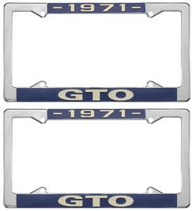 """1971-1971 GTO License Plate Frames, """"GTO"""" Custom, by RESTOPARTS"""