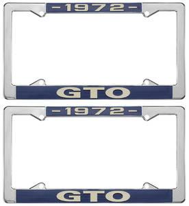 """1972-1972 GTO License Plate Frames, """"GTO"""" Custom, by RESTOPARTS"""