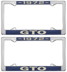 "1972 License Plate Frames, ""GTO"" Custom, by RESTOPARTS"