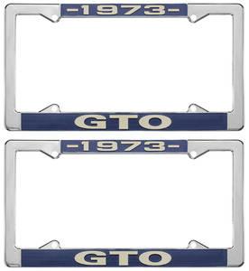 """1973-1973 GTO License Plate Frames, """"GTO"""" Custom, by RESTOPARTS"""