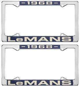 "1968 License Plate Frames, ""LeMans"" Custom, by RESTOPARTS"