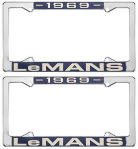 "1969 License Plate Frames, ""LeMans"" Custom, by RESTOPARTS"