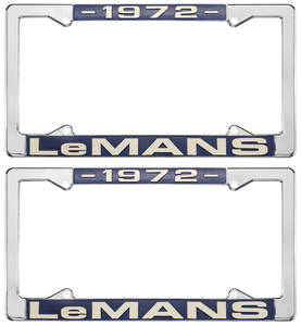 "1972 License Plate Frames, ""LeMans"" Custom, by RESTOPARTS"