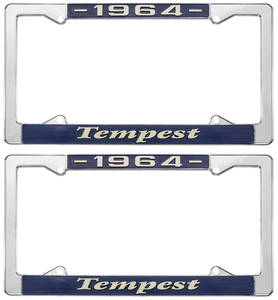 "1964-1964 Tempest License Plate Frames, ""Tempest"" Custom, by RESTOPARTS"