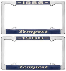 "1966-1966 Tempest License Plate Frames, ""Tempest"" Custom, by RESTOPARTS"