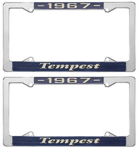 """1967-1967 Tempest License Plate Frames, """"Tempest"""" Custom, by RESTOPARTS"""