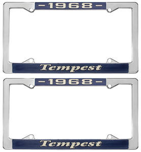 """1968 License Plate Frames, """"Tempest"""" Custom, by RESTOPARTS"""