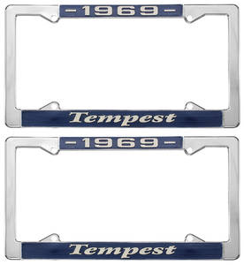 "1969 License Plate Frames, ""Tempest"" Custom, by RESTOPARTS"