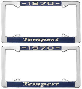 """1970 License Plate Frames, """"Tempest"""" Custom, by RESTOPARTS"""