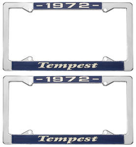 """1972 License Plate Frames, """"Tempest"""" Custom, by RESTOPARTS"""