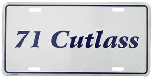 """1971 License Plate, """"Cutlass"""" Embossed, by RESTOPARTS"""