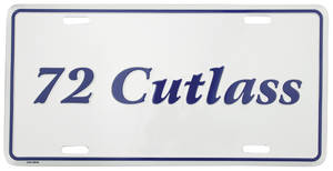 "License Plate, ""Cutlass"" Embossed"