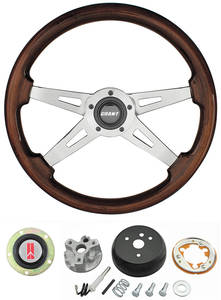 1964-66 Cutlass Steering Wheels, Mahogany 4-Spoke w/o Tilt