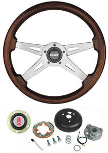 1969-1977 Cutlass Steering Wheels, Mahogany 4-Spoke Standard Column, by Grant