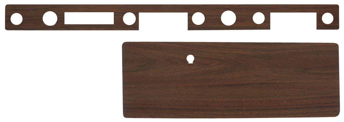 Photo of Dash Inserts, Vinyl Woodgrain Grand Prix And Bonneville (Burlwood Grain) (2-Piece) column shift