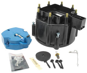 1964-1977 Cutlass/442 Distributor Accessory, Flame-Thrower HEI GM Hei Distributor Cap and Rotor (Black)