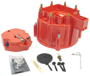 1964-1977 Cutlass/442 Distributor Accessory, Flame-Thrower HEI GM Hei Distributor Cap and Rotor (Red)
