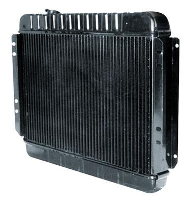 """1964 Cutlass Radiator, Desert Cooler 4-Row 15-1/2"""" X 24-3/4"""" X 2"""" MT, Passenger Filler (Driver Upper/Lower Hose), by U.S. Radiator"""