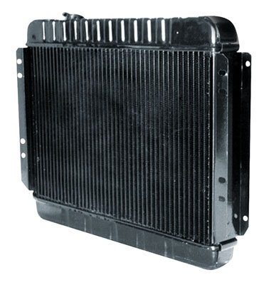 "1964 Cutlass Radiator, Desert Cooler 4-Row 15-5/8"" X 24-3/4"" X 2-5/8"" MT, Passenger Filler (Pass Upper/Driver Lower Hose)"