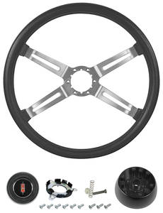 1970-77 Cutlass Steering Wheel, Oldsmobile 4-Spoke Complete Kit