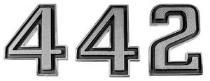 """1969-1972 Cutlass Fender Emblem, 1969-72 """"4-4-2"""" 3-Piece"""